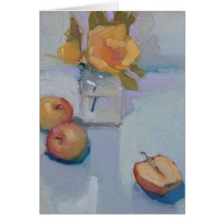 Rosas y manzanas - todavía tarjeta de la pintura