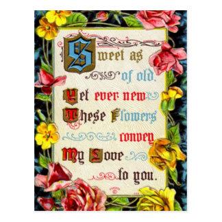 Rosas y poema de la tarjeta del día de San Valentí Tarjeta Postal