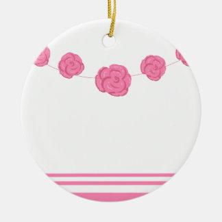 Rosas y rayas rosados adorno navideño redondo de cerámica