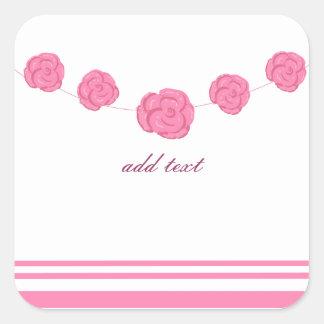 Rosas y rayas rosados pegatina cuadrada