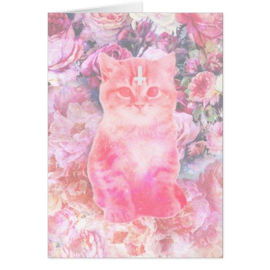 Rosas y tarjeta cruzada invertida del gatito