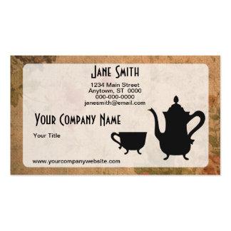 Rosas y té del vintage tarjeta de visita