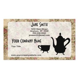 Rosas y té del vintage plantilla de tarjeta personal