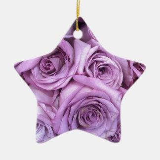 rose.jpg púrpura adorno navideño de cerámica en forma de estrella