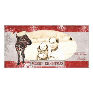 Rose Zebra  Red & Silver Christmas Photo Card