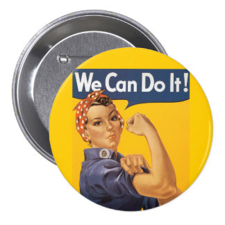 """Rosie el remachador """"podemos hacerlo """" chapa redonda de 7 cm"""