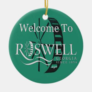 Roswell Georgia, Felices Navidad usted ornamentos Adorno Navideño Redondo De Cerámica