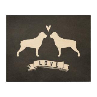 Rottweiler siluetea amor impresión en madera