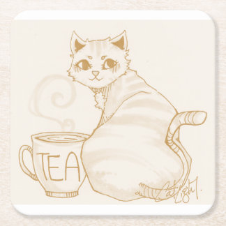 Rotura de té del gatito posavasos personalizable cuadrado
