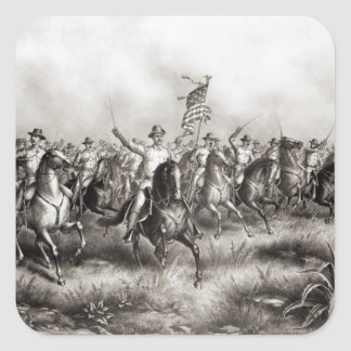 Rough Riders: Coronel Theodore Roosevelt Colcomanias Cuadradas Personalizadas
