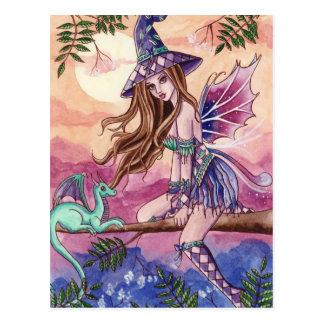 Rowenia - bruja y postal del dragón