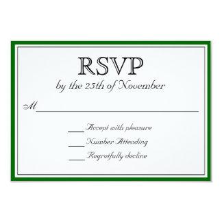 RSVP clásico con la frontera verde oscuro Invitación 8,9 X 12,7 Cm