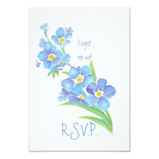 RSVP con me olvida no, flor de la acuarela Invitación 8,9 X 12,7 Cm