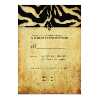 Rsvp de PixDezines, rayas de la cebra del vintage Invitación 8,9 X 12,7 Cm