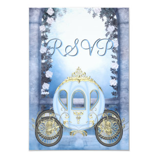RSVP de princesa Carriage Enchanted azul Invitación 8,9 X 12,7 Cm