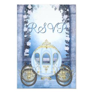 RSVP de princesa Carriage Enchanted azul Invitación 8,9 X 12,7 Cm
