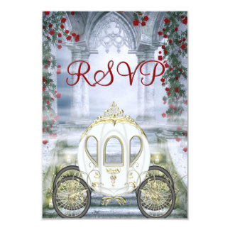 RSVP de princesa Carriage Enchanted blanco Invitación 8,9 X 12,7 Cm
