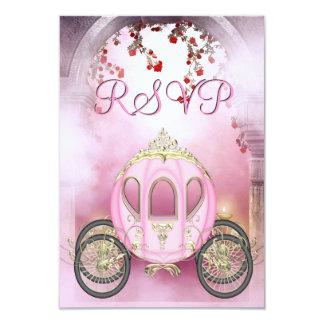 RSVP de princesa Carriage Enchanted rosado Invitación 8,9 X 12,7 Cm