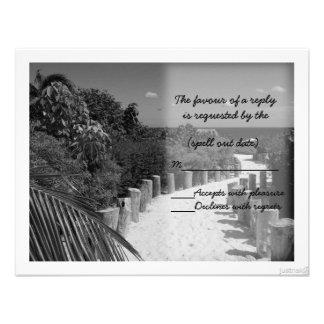 rsvp del bw del paseo de la playa invitaciones personales