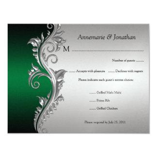 RSVP floral negro del vintage y de plata verde Invitación 10,8 X 13,9 Cm
