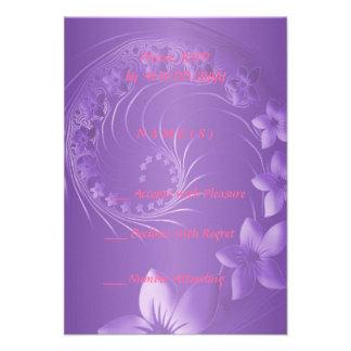 RSVP - flores abstractas violetas Invitación Personalizada