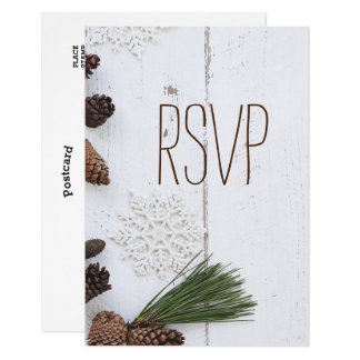 RSVP-Invierno Pinecone y el casarse de los copos Invitación 8,9 X 12,7 Cm