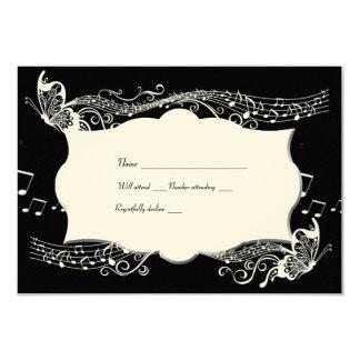 Rsvp negro de Fidelity de la música de la mariposa Invitación 8,9 X 12,7 Cm