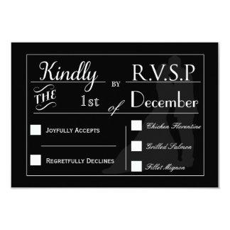 RSVP negro y blanco de los pares del boda de la Invitación 8,9 X 12,7 Cm