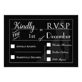 RSVP negro y blanco de los pares del boda de la ti