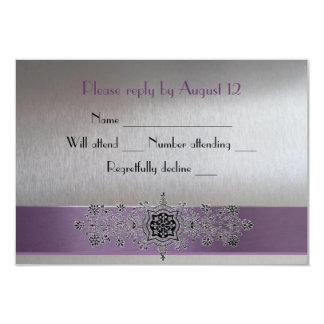 RSVP púrpura y de plata de la torre Eiffel Invitación 8,9 X 12,7 Cm
