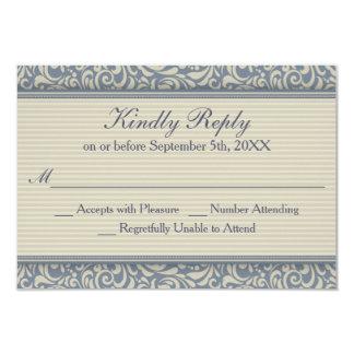 RSVP que se casa barroco azul y beige elegante Invitación 8,9 X 12,7 Cm