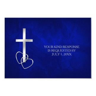 RSVP que se casa cruzado cristiano de plata azul Invitación 8,9 X 12,7 Cm