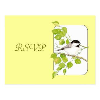 RSVP que se casa, pájaro, postal del Chickadee de