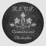 RSVP que se casa romántico oscuro gótico elegante Etiquetas Redondas