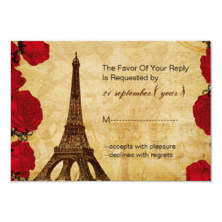 rsvp rojo 3,5 x 5 del boda de la torre Eiffel del Invitación 8,9 X 12,7 Cm