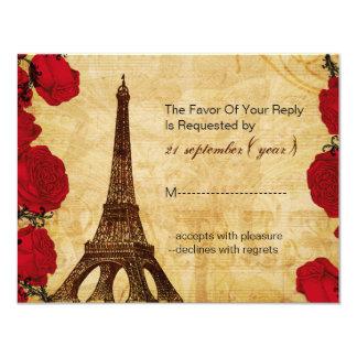 rsvp rojo del boda de París de la torre Eiffel del Invitación 10,8 X 13,9 Cm