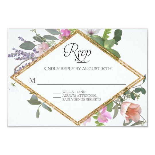 RSVP subió arte floral del falso Wildflower del Invitación 8,9 X 12,7 Cm