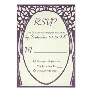Rsvp violeta y de marfil del art déco del pavo invitación 8,9 x 12,7 cm