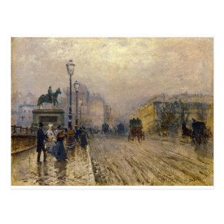 Ruda de París con los carros de José de Nittis Postal