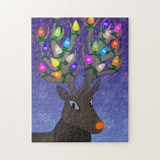 Rudolf con las luces de navidad puzzle