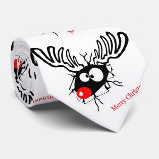 Rudolf divertido la pared agrietada del reno del corbatas personalizadas