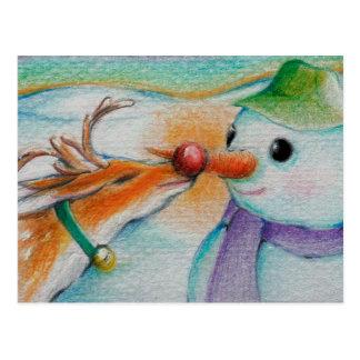 Rudolf resuelve el muñeco de nieve postal