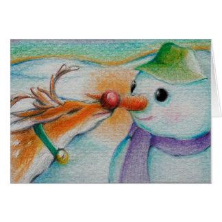 Rudolf resuelve el muñeco de nieve tarjeta de felicitación