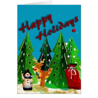 Rudolf y escarchado buenas fiestas tarjeta de felicitación