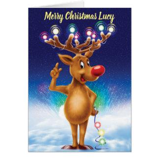 Rudolph con la tarjeta de Navidad de encargo de la