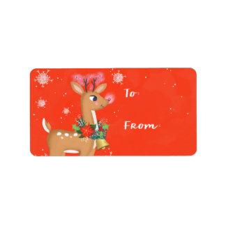 Rudolph el regalo del reno etiqueta de dirección