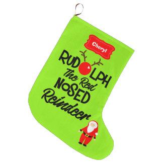 Rudolph el reno sospechado rojo personalizado calcetín de navidad grande