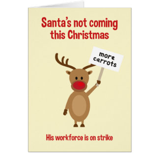 Rudolph en tarjeta de Navidad de la huelga