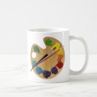 Rueda de color de la paleta del ` s del artista taza de café