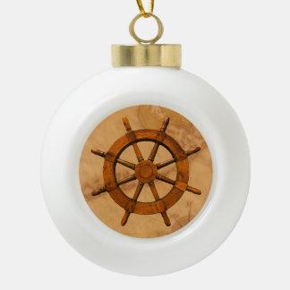 Rueda de la nave del vintage adorno de cerámica en forma de bola